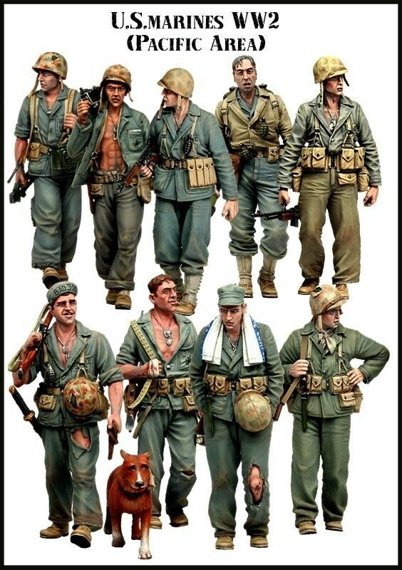 RARE 1 35 Resin Model Kit US MARINES WW2 (9 Figures) PACIFIC THEATRE