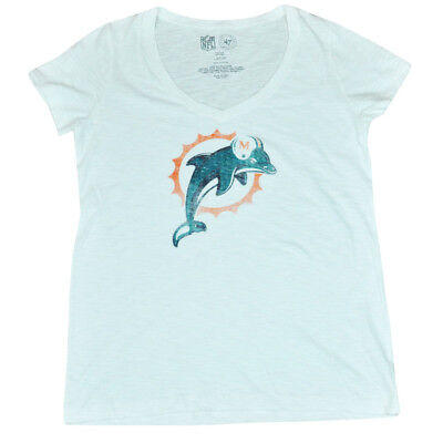 GroßZüGig Nfl 47 Marke Miami Dolphins Damen Logo Scrum V-ausschnitt T-shirt Weiß Dw4500 Fanartikel