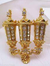 Large K.J.L Kenneth Jay Lane Gold Tone Rhinestone Lamp Post Brooch Pin Pendant