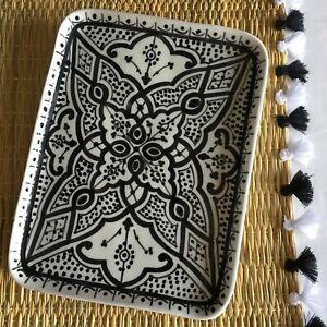 Artisan Appetizer Tray Serving Moroccan Handpainted Porcelain Black Dish