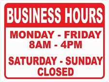 Open For Business Hours Of Operation Signsize Options Open Closed Times