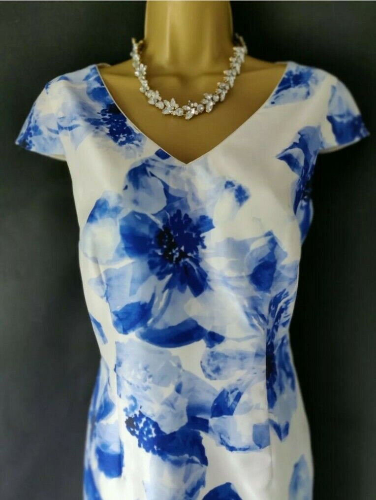 Mother of the Bride Jacques Vert Ivory & Royal Blue Floral Dress Size 10 Wedding