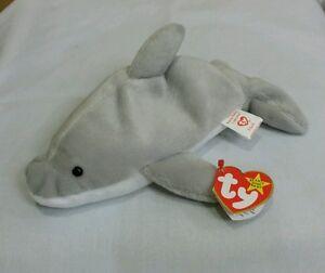 Ty Beanie Baby FLASH the Dolphin  4021 w Errors 1993 PVC Retired ... 95793ea4711