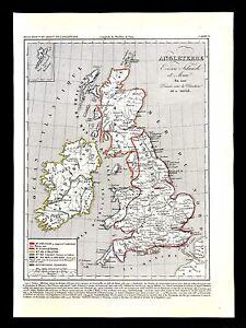 Map Of England 1100.Details About 1849 Houze Map Great Britain 1100 England Ireland Scotland Isle Of Man London
