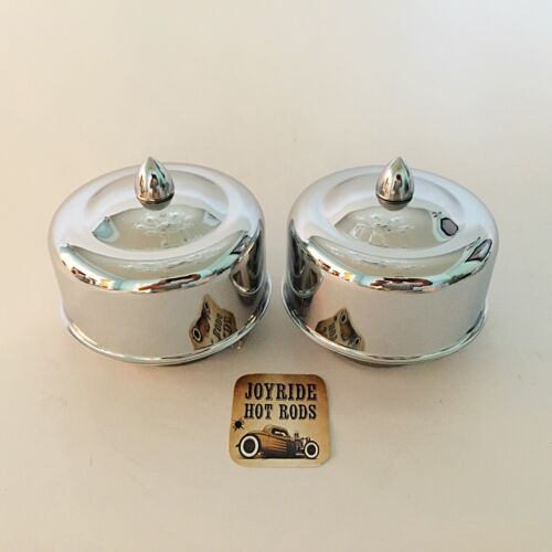 """Chrome 2 5//8/"""" or 2 5//16/"""" Neck Hot Rod 2 x 2BRL Air Cleaners Bullet Fasteners"""