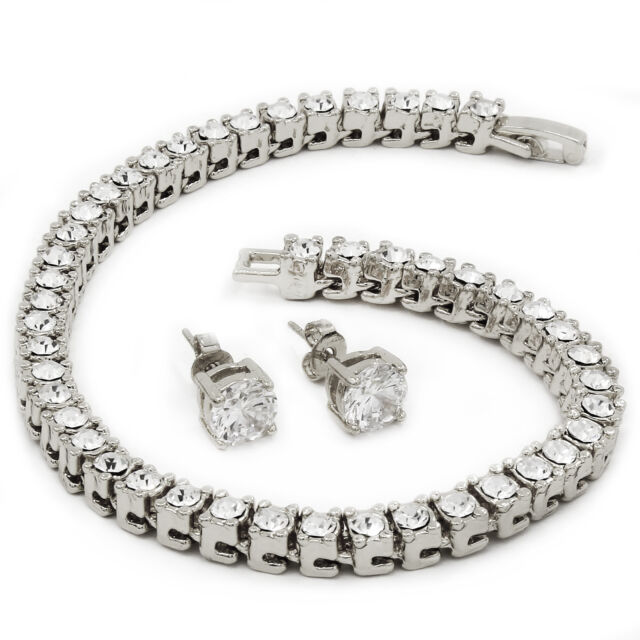 "Men's Silver Tone Iced Out 8.5"" 1 Row Fully Cz Hip-Hop Bracelet Free Earring"