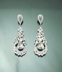 Vintage Beautiful Bridal Swarovski crystal Chandelier Earrings 1\