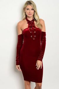 df9e336258 Elegant Sexy Wine Red Velvet Lace up Neck Dress cocktail party Made ...