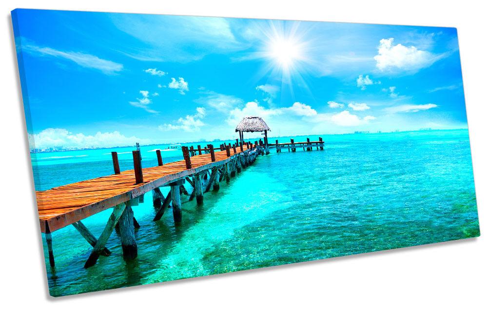 Cancun Mexico Beach Sea Sea Sea Framed PANORAMIC CANVAS PRINT Wall Art 45d654
