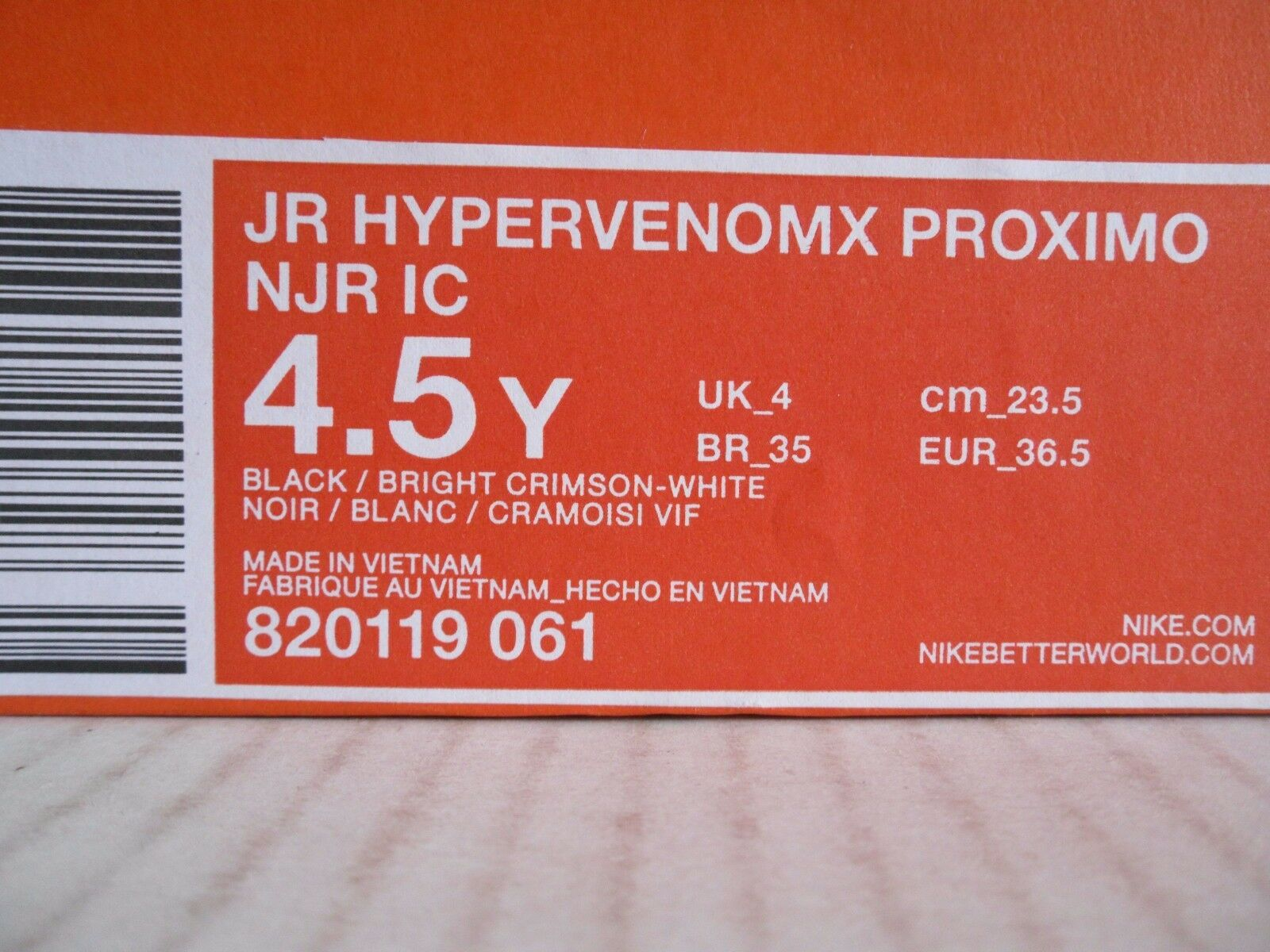 NIKE JR HYPERVENOMX HYPERVENOMX HYPERVENOMX PROXIMO NJR IC  NEYMAR  SZ 4.5Y-WOMENS SZ 6 3aa087