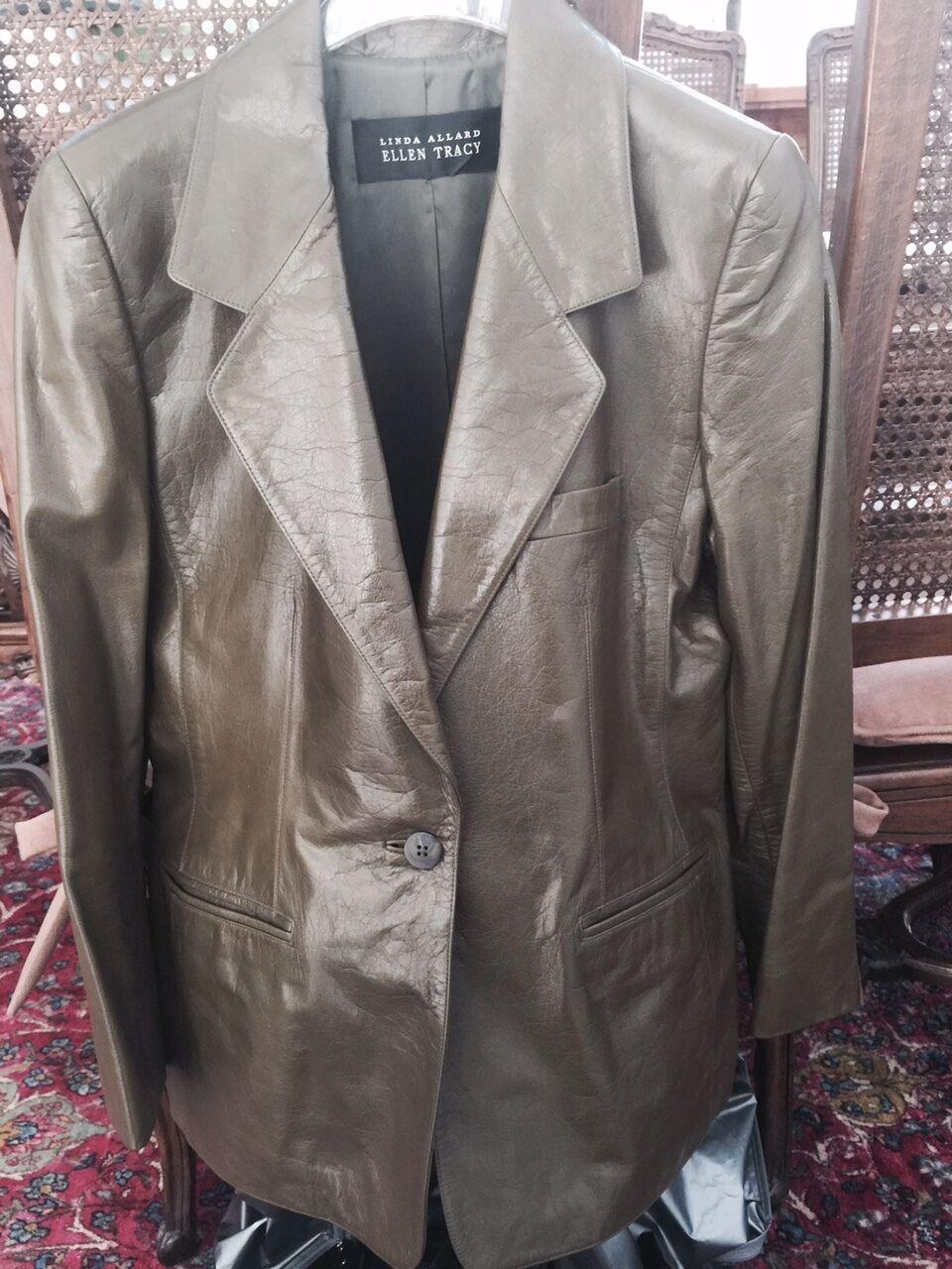 Ellen Tracy Dark Green Leather Blazer Medium Beautiful