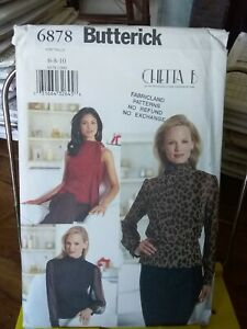 Oop-Butterick-Chetta-B-6878-misses-top-bias-collar-sheer-sz-6-10-NEW