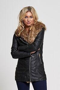 Women/'s Faux Fur Leather Look Jacket Quilted Biker KouCla Black