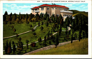 Vtg Residence Of Charlie Chaplin Actor Beverly Hills California CA Postcard