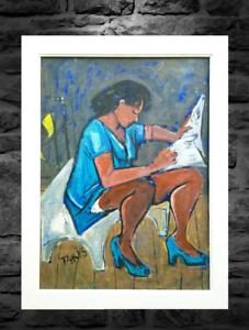 Vintage-Mid-Century-Modern-Oil-Painting-Portrait-of-African-American-Black-Woman