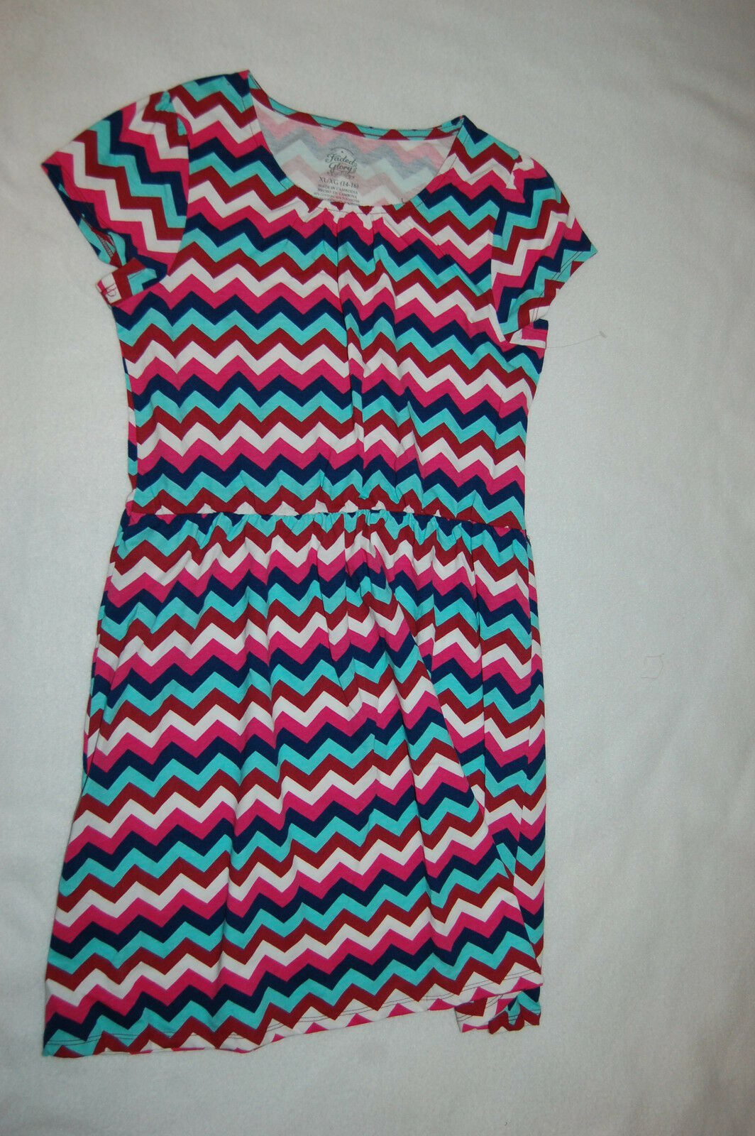 e3e6212fc Girls S s Dress Chevron Zig Zag Pink Navy Burgundy Aqua Casual Play ...