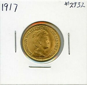 1917-Gold-Netherlands-10-Gulden-Coin-Almost-Uncirculated-Lot-2726