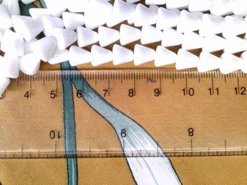 VTG 50 OPAQUE WHITE GLASS LIBERTY BELL DROP BEADS #081117g