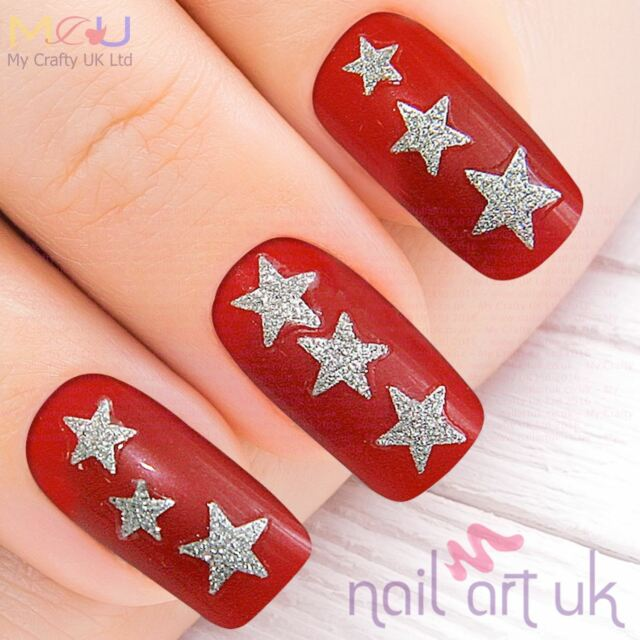 50 Glitter 3d Silver Star Adhesive Nail Art Stickers Decorations ...