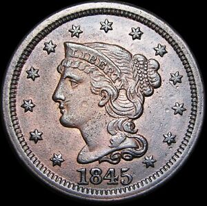 1845-Braided-Hair-Large-Cent-Penny-STUNNING-Type-Coin-H417