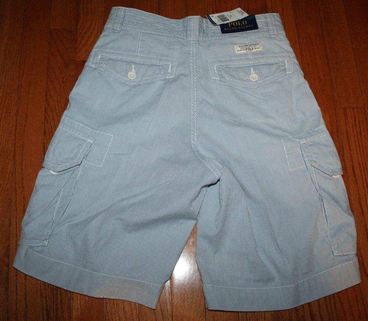 12c35eb26 Polo Ralph Lauren Men s Cargo Shorts 100 Cotton Blue White Striped Sz 29  for sale online