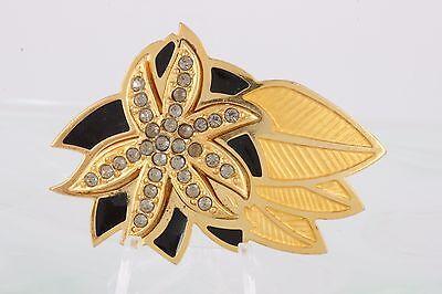 Fashion Jewelry Apprehensive Berebi Goldtone Black & Yellow Inlay Gray Crystals Flower Brooch Fashion 4490b