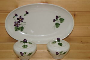Orchard-Wood-Violet-Relish-Dish-8-034-amp-Salt-amp-Pepper-Shakers-w-New-Stoppers-2-034