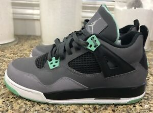 on sale 30e60 6d20c Details about Nike Air Jordan Retro 4 Green Glow 7 Youth Green Gray Black  High Top Basketball