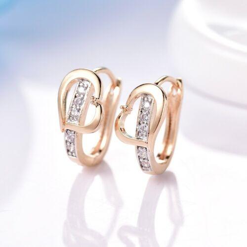Fashion Femmes Fête De Mariage Blanc Cristal Saphir Deux Ton or Boucles d/'oreilles Créoles