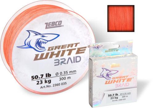 ZEBCO Great White Braid geflochtene Angelschnur 0,05€//m 300m oder 1000m
