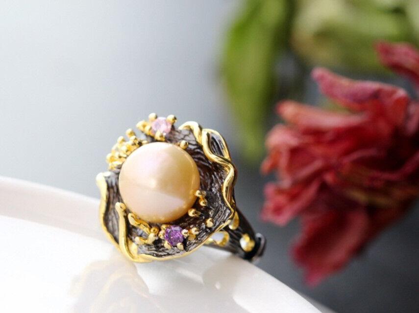 B06 Anello Art Nouveau Nouveau Nouveau nero fioritura dorato BIANCO perla Sterling argentoo 925 044f03