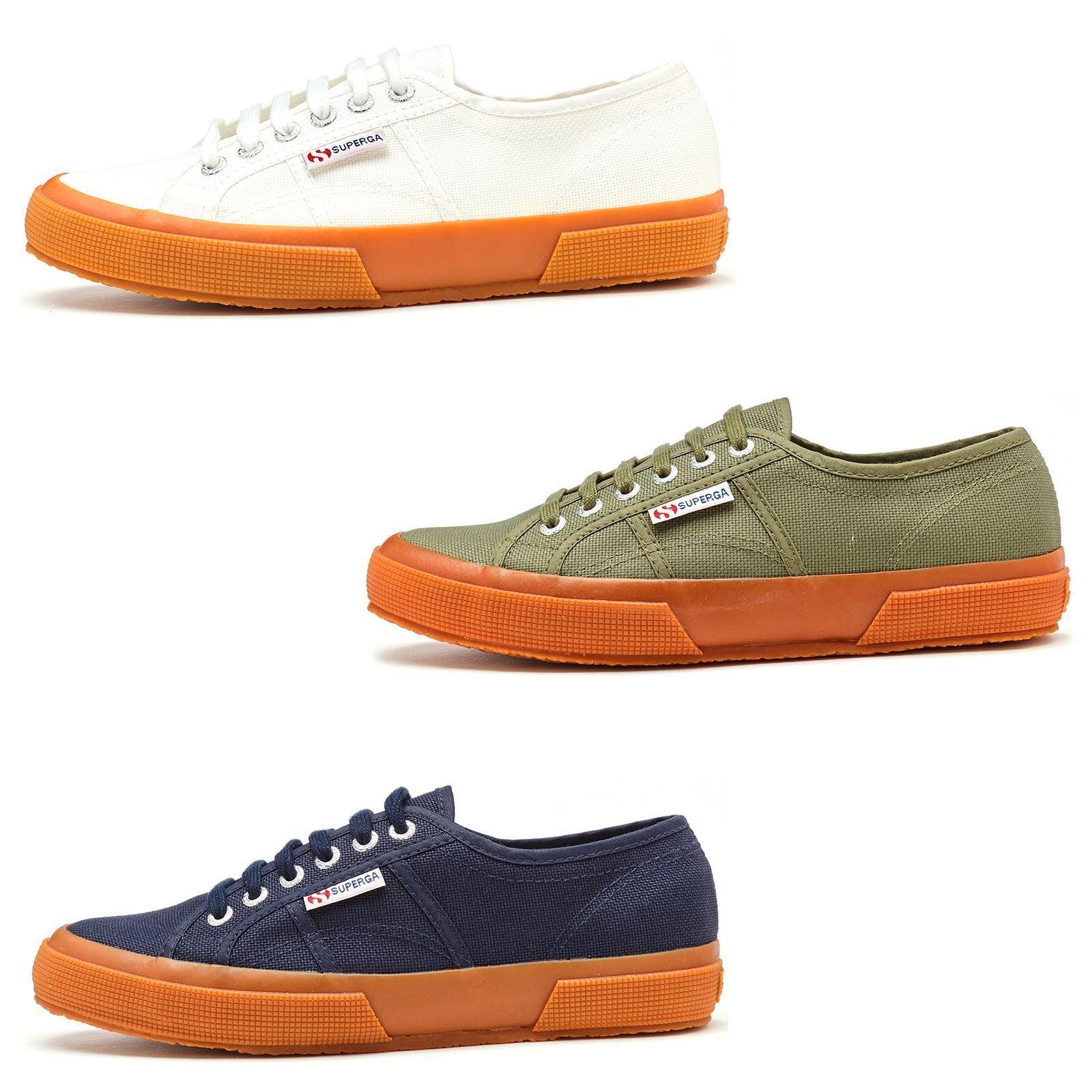 Superga 2750 Cotu Classic Canvas Gum Schuhes in WEISS, Blau & Green in All Größes