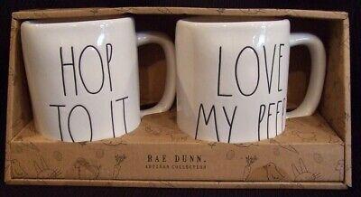 Rae Dunn Coffee Mugs Easter Hop To It And Love My Peeps Gift Set of 2 NIB