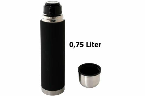 Thermosflasche Edelstahl 0,75 Liter schwarz mit Ausgiesser Thermo Isolier Kanne