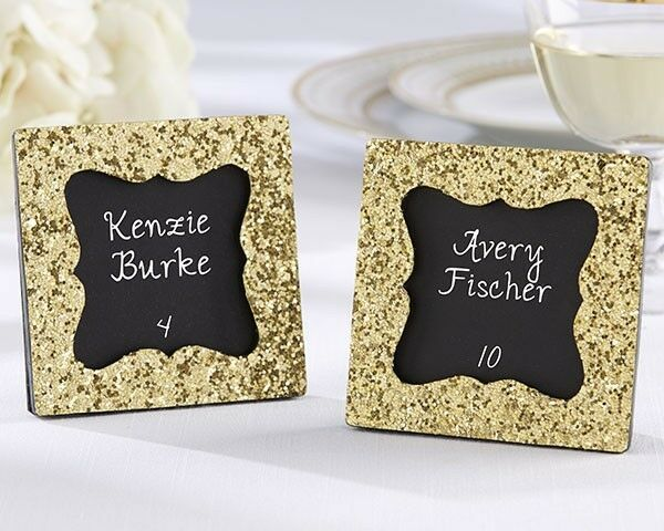 24 All That Glitters Gold Glitter Square Photo Frame Wedding Favors