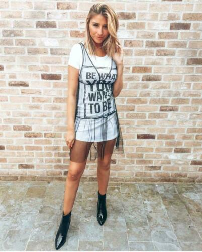 Womens Ladies /'Be What You Want To Be/' Slogan Tulle Hem Sheer Net T Shirt Dress