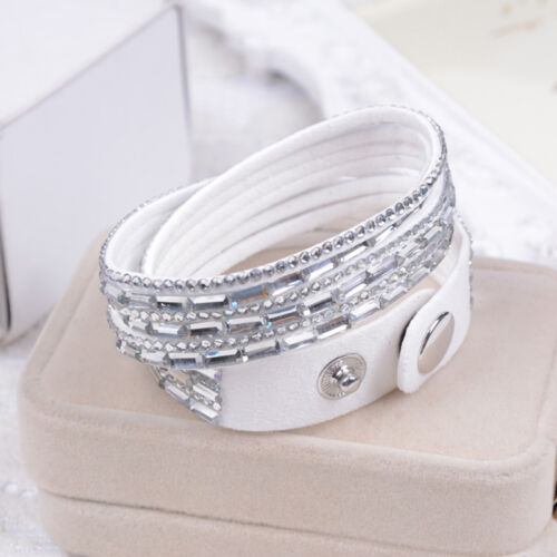 Neu Damen Armband Leder Strass Wickelarmband Kristall Armkette Armschmuck AA21