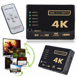 3D-1080p-5Port-4K-HDMI-Switch-Switcher-Selector-Splitter-Hub-IR-Remote-Fo-HDTV-E