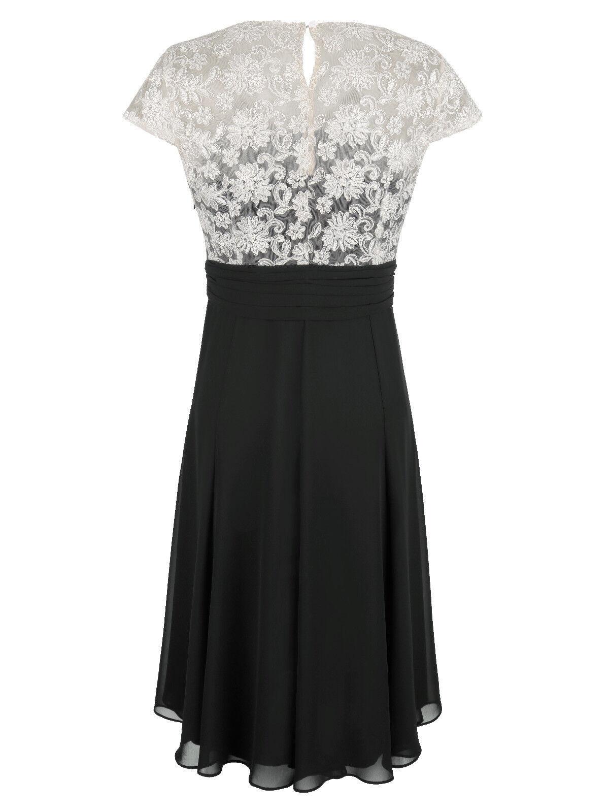 Marken Abend Kleid mit Spitzenoberteil black-ecru Gr. 46 46 46 0618988675 fbf538
