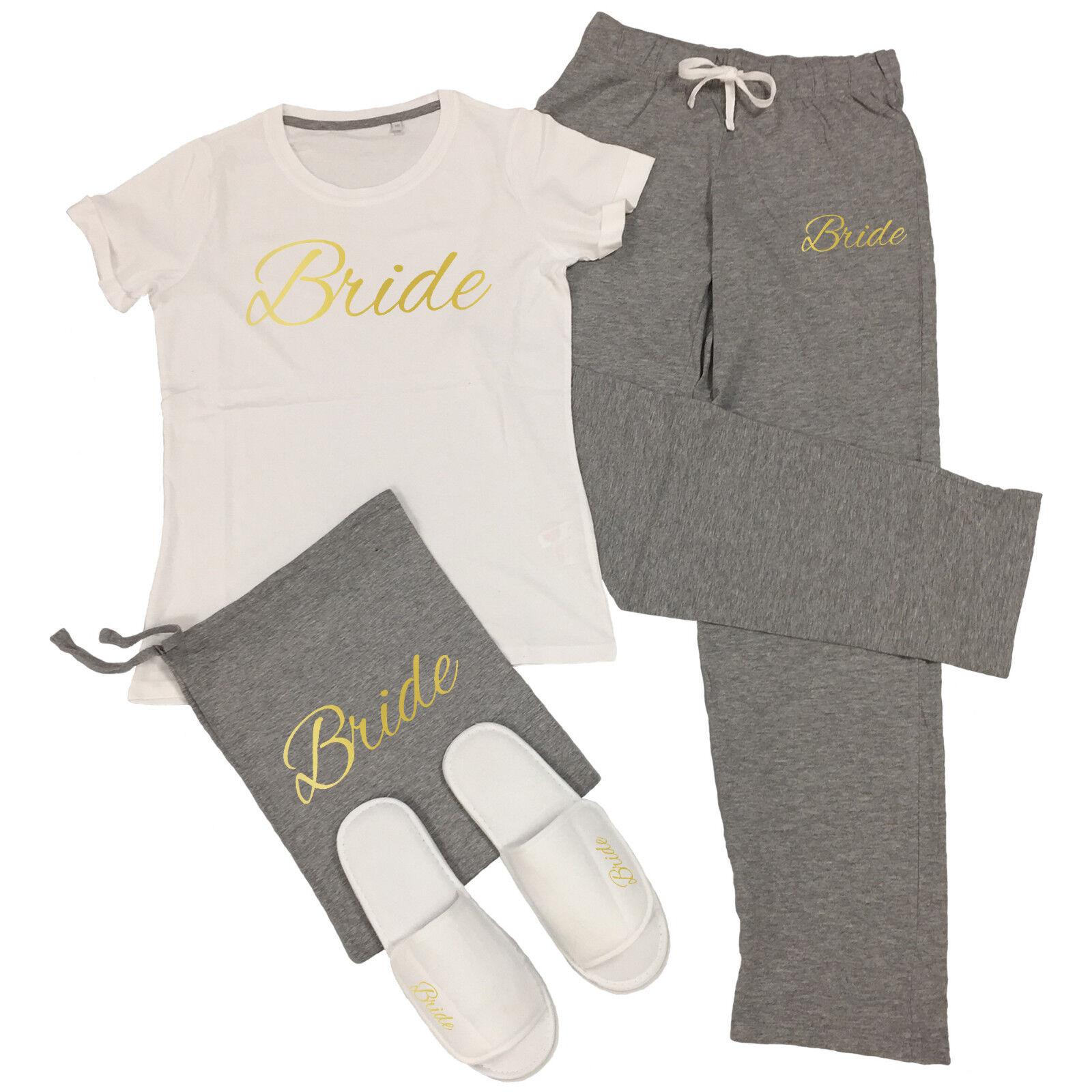 Wedding T-Shirt & Trousers Pyjamas Set Hen Do Party Night Bride To Be Bridesmaid