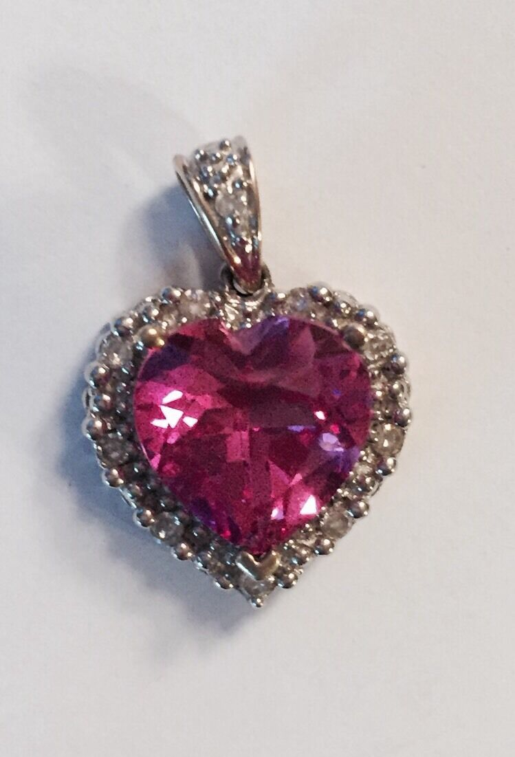 10K gold Heart Shape Pink Stone Diamond Pendant  L@@K