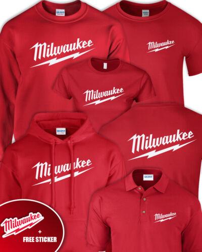 MILWAUKEE RED Tshirt Hoodie Sweater Jumper Polo Adults Mens Kids Ladies STICKER
