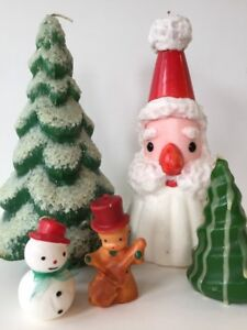 Vintage Christmas Candles.Details About Lot Of Vintage Christmas Candles Trees Santa Snowman Caroler Unused New