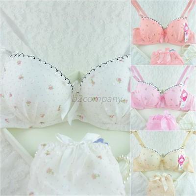 Chic Lady Underwire Bra Set Dots Push-up Underwear Brassiere 32-36B 3/4 Cup B46