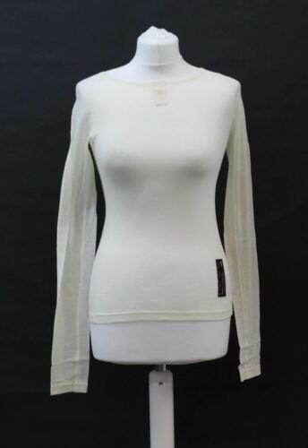 RAPHA Ladies Cream Merino Wool Mesh Long Sleeve Cycling Base Layer XS NEW