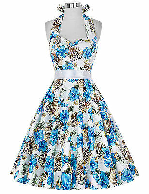 Plus Size 3XL Womens 50s 60s Vintage Swing Pinup Housewife Evening Party Dress