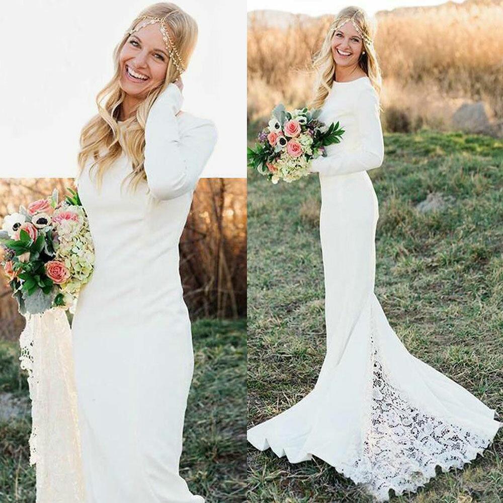 Long Sleeves Modest Lace Mermaid Wedding Dresses Bridal Gown 2-26W Custom Size