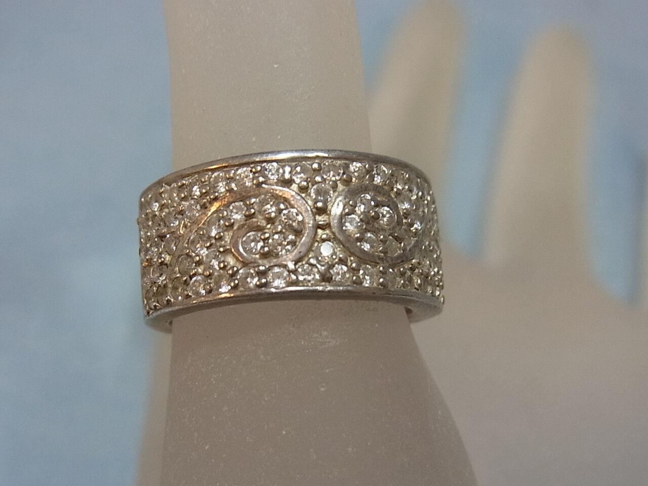 925er silver ring mit Zirkon Steinen Ringgr 54,5 breit 1,04 cm Gewicht 8,1 gramm