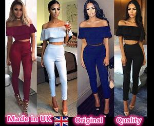 Women Crop Top Bardot 2 Piece Frill Shoulder Suit Pencil Pants Set Midi Bondycon