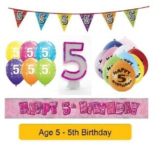 Happy-5th-Birthday-AGE-5-Party-Balloons-Banners-Badges-amp-Decorations-Helium-GIRL